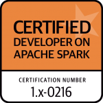 certified developer on Apache Spark - certification number - 1.x-0216